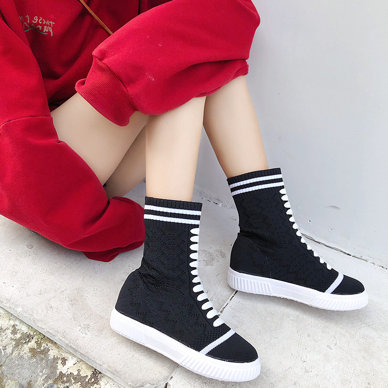 Haute Tige Respirant À Femmes Zapatos Tissu Lace Mujer Noir Extensible Chaussette up Nouveau Tricoter forme Plate Chaussures Appartements Automne q01wqOd7r