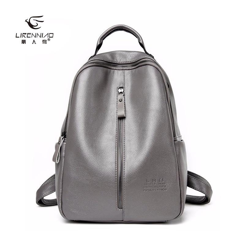 ФОТО LI REN NIAO 2017 Split Leather Backpack Women New Fashion Backpacks  Ladies School Bags For Teenage Girls TRN-3842