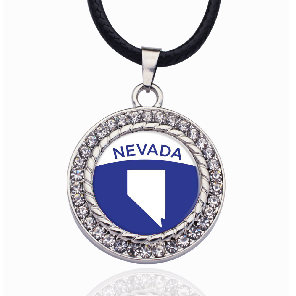 Nevada Outline Circle Charmc Crystal Pendant Necklaces For Women Vintage Charm Choker Necklace Party Jewelry Gift(China)