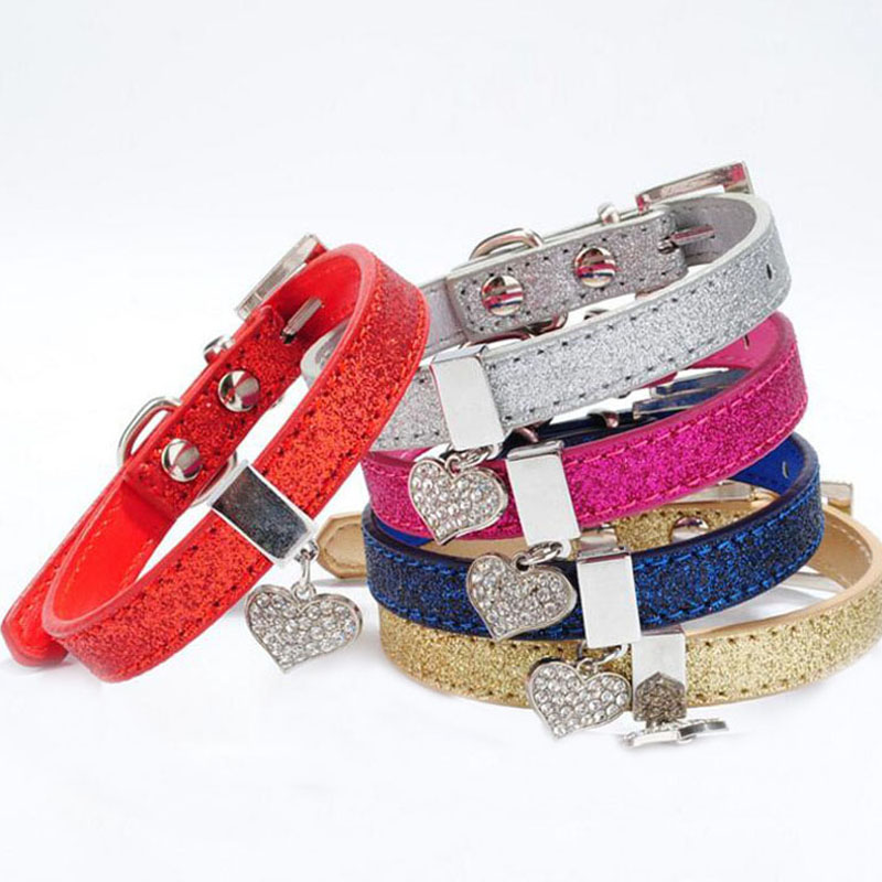 Glitter Pu Leather Dog Collars For Pet Puppy Dog With Rhinestone Bling Heart Diamond Pendant Size XS S 4 Colors Free Shipping