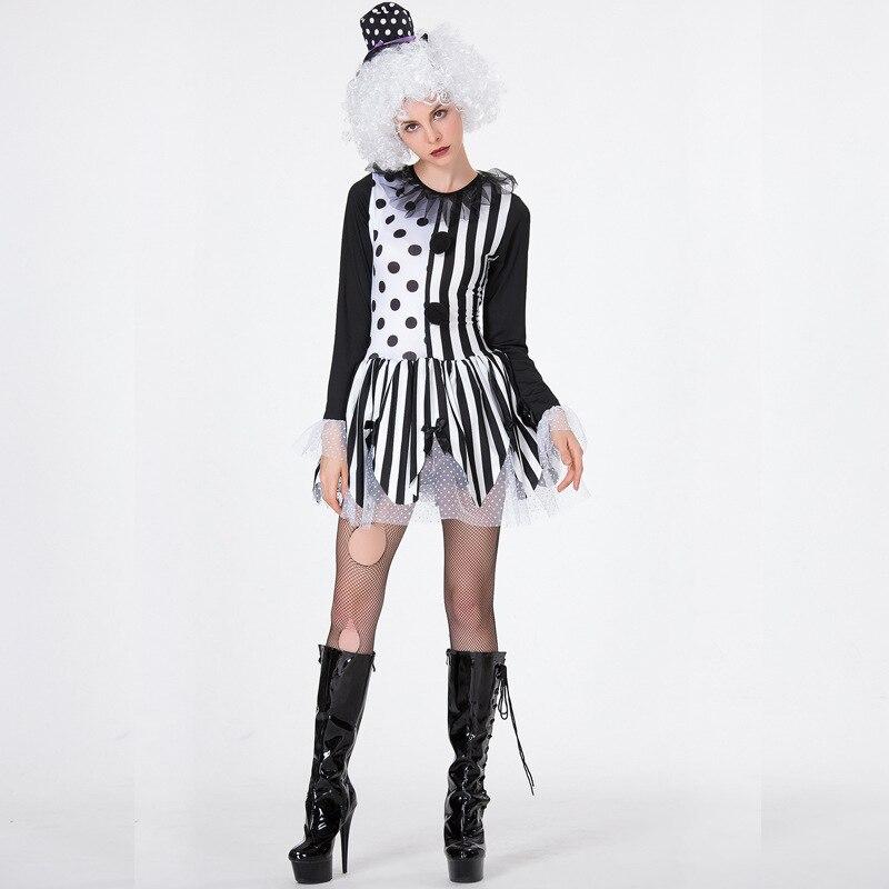 Umorden Black White Lady Killer Clown Costume for Women Girls Halloween Party Carnival Fantasia Costumes Dress