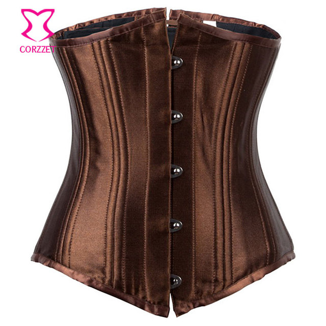 Corzzet Brown Satin Women Underbust Corset Mulheres Espartilho Corselet Waist Trainer Steel Corsets And Bustiers