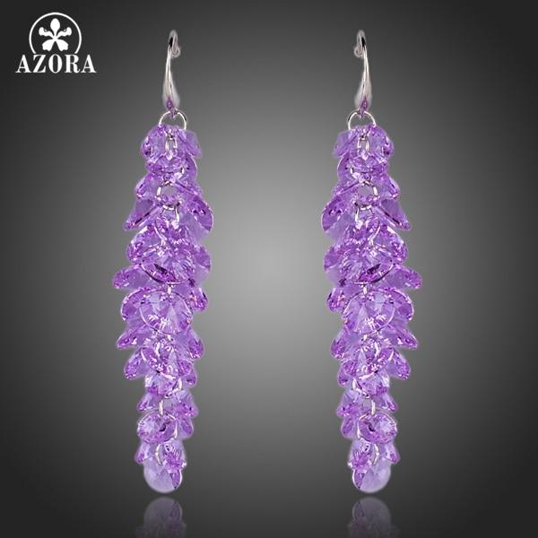 AZORA Purple Stellux Austrian Crystal Romantic Lavender Drop Earrings TE0097