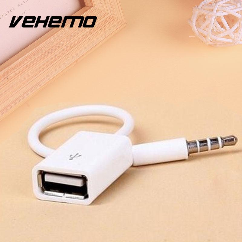VEHEMO Car Stying Portable 3.5mm Male AUX Audio Plug Adapter Jack To USB 2.0 female Port Converter Cord Cable MP3