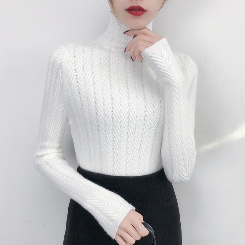 Image 5 - Underwear Woman Autumn and Winter 2019 New sweater Slim Bottom Shirt Long Sleeve Tight Knitted Shirt Thickening-in Pullovers from Women's Clothing