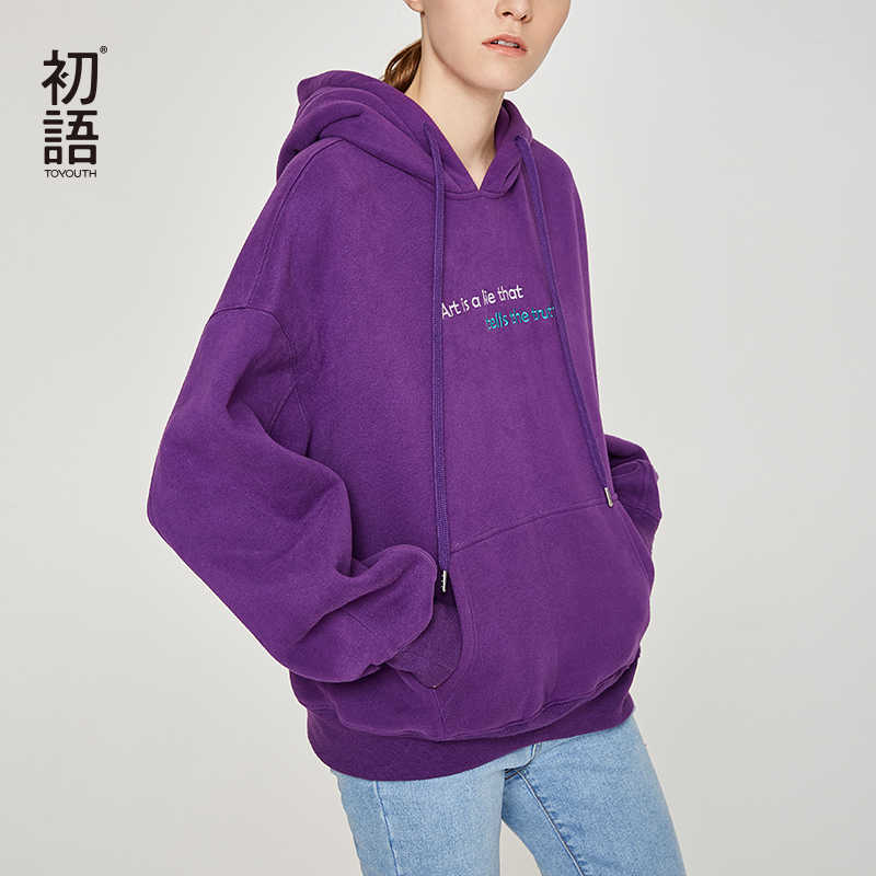 Toyouth Borduren Letters Vrouwen Hoodies en Sweatshirts Hip-Pop Terug Gedrukt Hoody Sweatshirts Casual Herfst Winter Trainingspakken