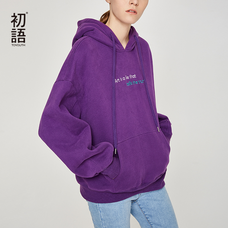 Toyouth Embroidery Letters Women Hoodies And Sweatshirts Hip-Pop Back Printed Hoody Sweatshirts Casual Autumn Winter Tracksuits
