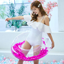 Inflatable Feather Swimming Ring women & kids Pool Float Sequins Round Swimming Circle Pool Float Water Toys