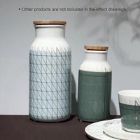 Ceramic Bottle with Lid Porcelain Milk Fruit Juice Water Bottle Decorative Bottle For Coffee Beans