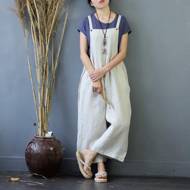 0f61a73b715 Women Summer Linen Loose Jumpsuits Overalls Ladies Vintage Retro Solid  Color Linen Rompers Female Vintage Jumpsuits