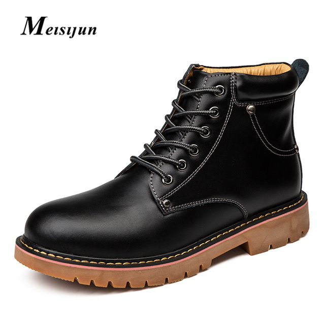 MEISIJUN NO /plus cashmere martin boots men Retro wipe the skin desert boots comfortable warm men tooling shoes