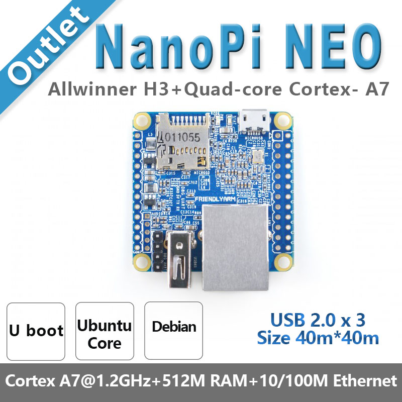 NanoPi NEO Open Source Allwinner H3 Development Board Super Raspberry Pie Quad-core Cortex-A7 DDR3 RAM 512MB Run Ubuntu Core