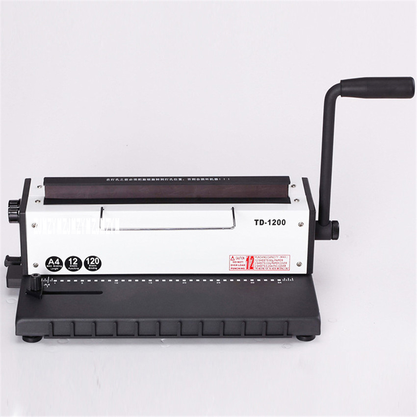 TD-1200 Manual Spiral Wire Binding Machine Metal 34 Punching Hole File Menu Photo Album A4 Paper Document Binder Puncher Machine