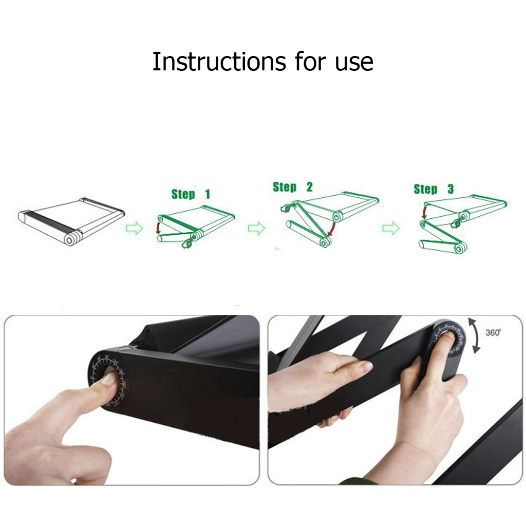 Portable Adjustable Laptop Stand Lapdesk Aluminum Desk Laptop Holder Bed Table For Ultrabook Netbook Tablet With Mouse Pad in Lapdesks from Computer Office