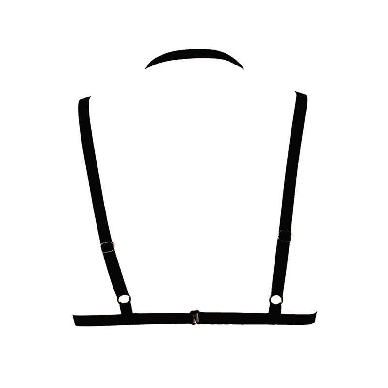 Ropa interior Sexy de mujer Lencería transparente de encaje con tiras sujetador Bondage cinturón erótico Crop Top Bralette Ropa interior negro