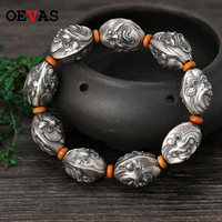 Real 925 Silver 68g 18mm 20cm Buddhism Bracelet men High quality 925 Sterling silver Amulet Lucky pulsera hombre Gift Jewelry