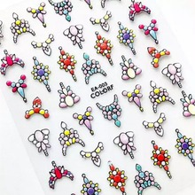 Newest EA series 003 jewelry design 3d nail sticker back glue decals DIY decoration for wraps