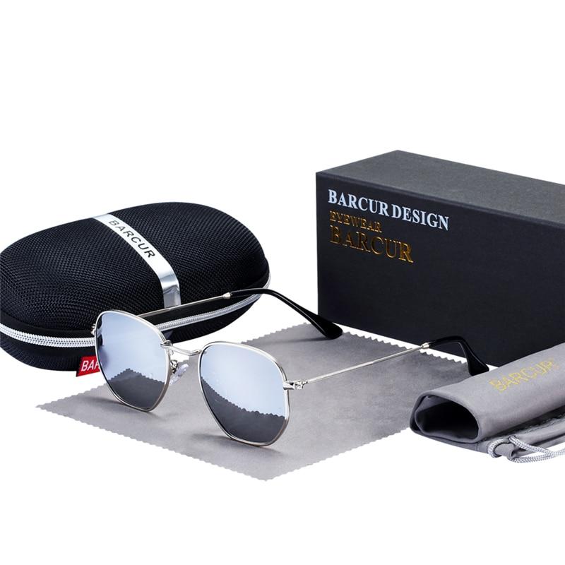Klasik Retro Yansıtıcı Güneş Gözlüğü Adam BC3548 Altıgen - Elbise aksesuarları - Fotoğraf 3