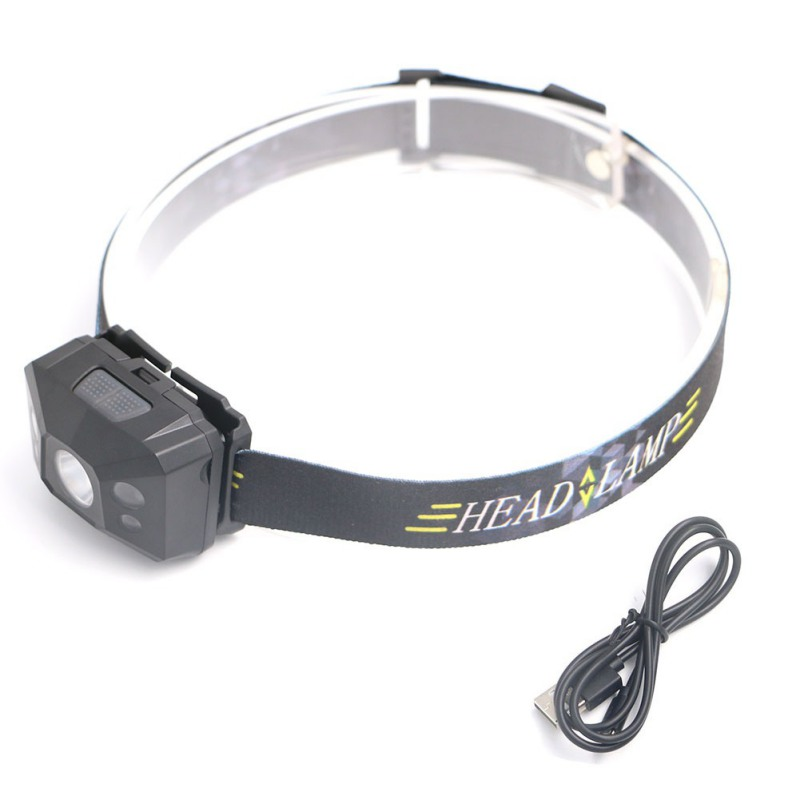 Hands-free LED Headlamp USB Rechargeable Headlight Waterproof Head Torch Hard Light Body Motion Sensor Flashlight For Cycling