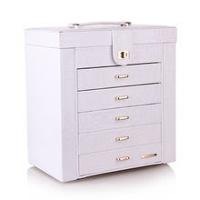[ROWLING] Extra Large Beads Rings Bracelets Necklace Storage Jewelry Box  Armoire Faux Leather ZG231