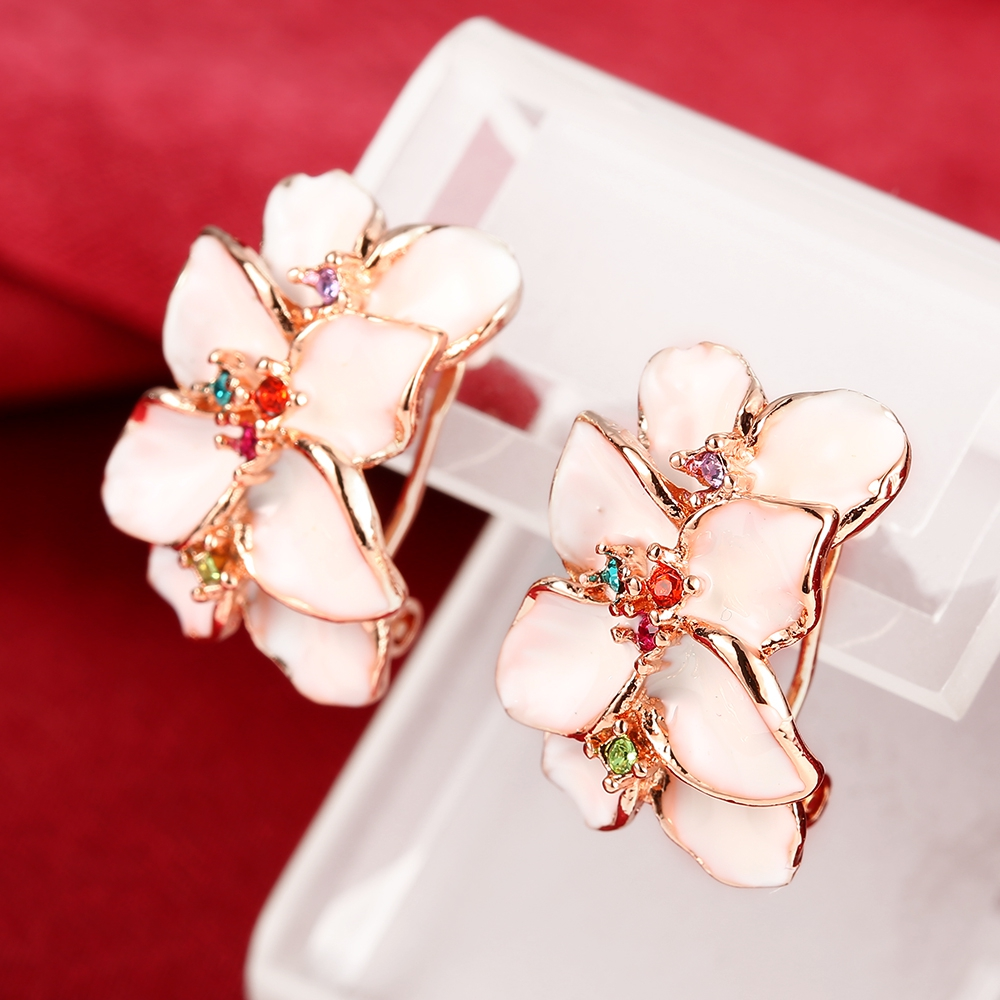 Epicfeat Bright Large Flower Stud Earrings Rose Gold Color & Silver Color  Zircon Earrings E644 Classic Wedding Jewelry