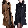 Шерстяные верхняя одежда женский средней длины 2017 осенью и зимой плюс размер тонкий утолщение шерстяной пальто осень и зима верхняя одежда