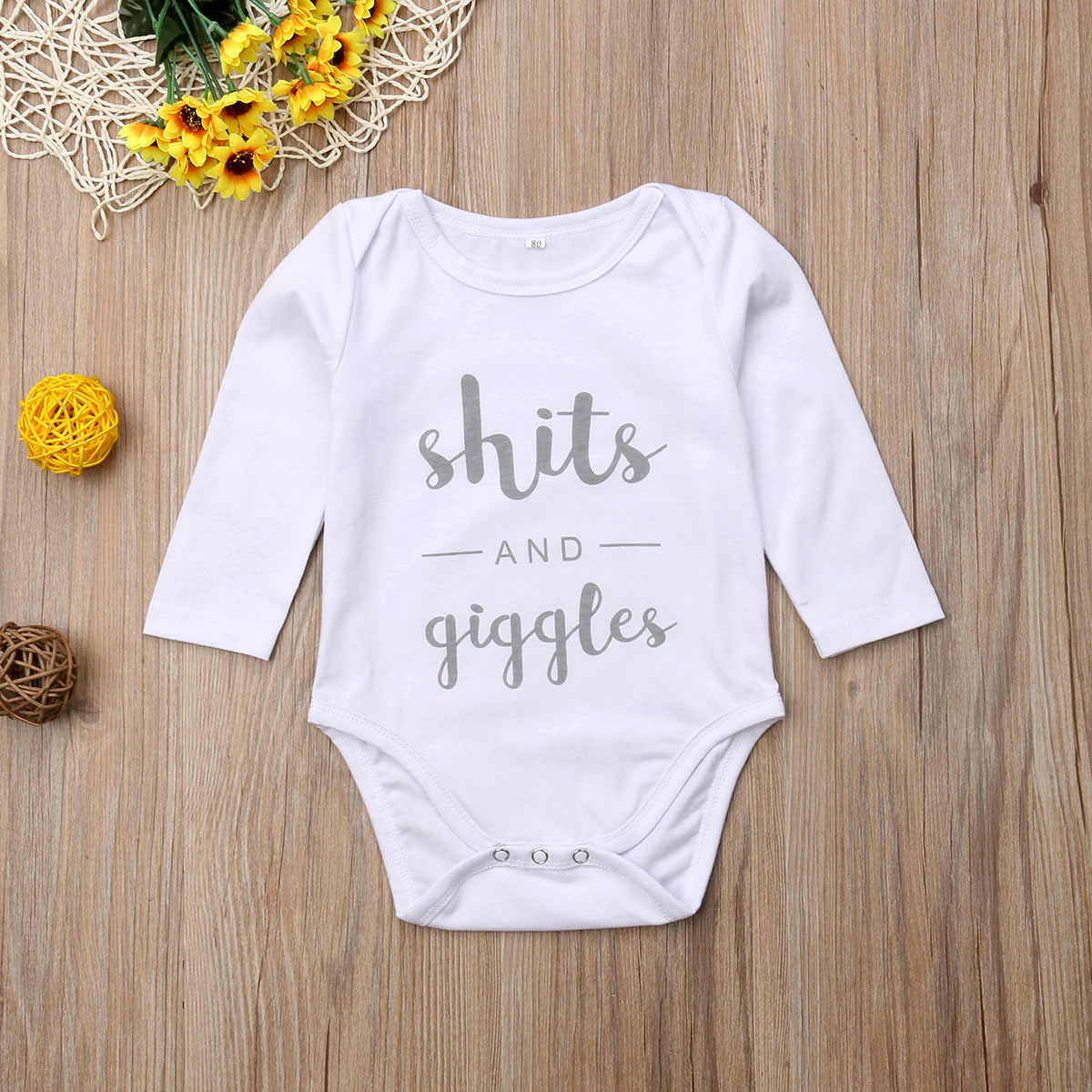 2018 Brand New Newborn Infant Baby Girls Boys Casual Autumn Bodysuits Letter Print Long Sleeve White Cotton Jumpsuits Playsuit