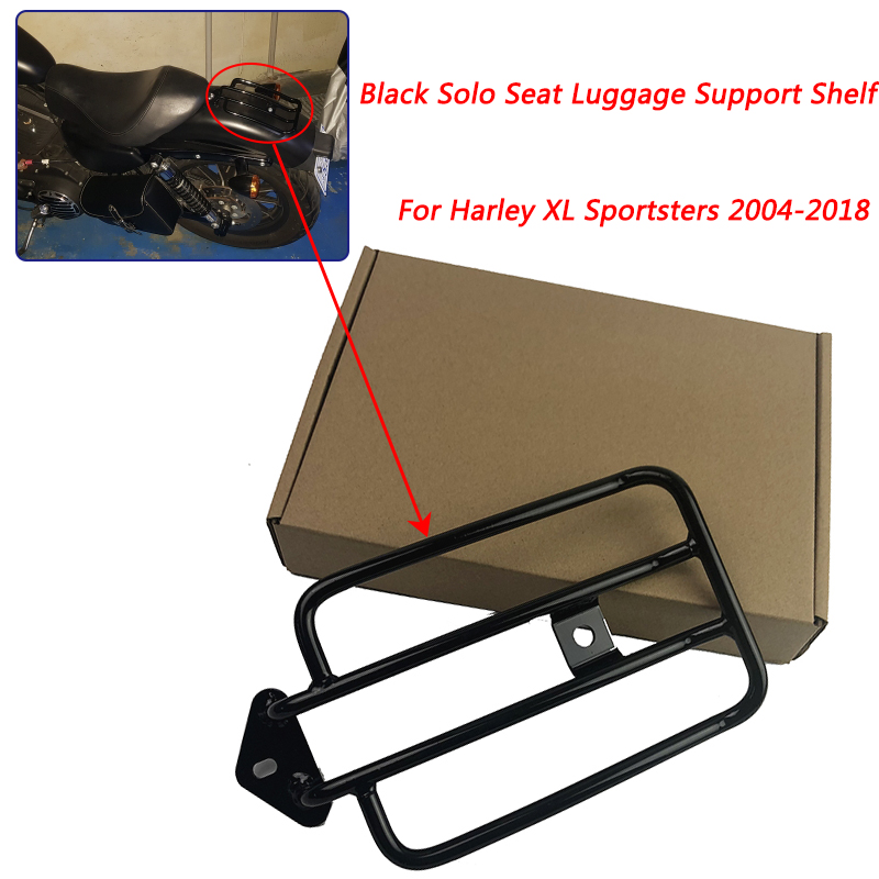 For Harley XL Sportsters <font><b>Iron</b></font> 48 <font><b>883</b></font> XL1200 2004-2018 Motorcycle Black Solo <font><b>Seat</b></font> Luggage Support Shelf Rack 2014 2015 2016 2017 image