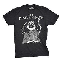 Mens King of North Funny Pug Face Tee Hilarious Dog Lover Shirts Novelty T Shirt Print T-Shirt Mens Short Sleeve Hot Top Tee