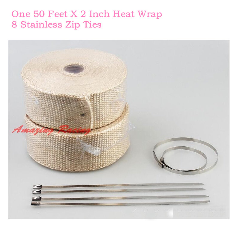 """Motorcycle Protection Header Exhaust Thermal Heat Wrap Ties 2/"""" inches 50/' feet"""