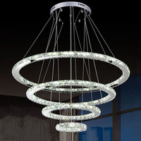 LED Crystal Ring Chandelier Light Modern LED Circle Chandelier Lamp Lights Light Fixture Ready Stock Home