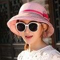2016 Новый Шаблон Солнцезащитный Крем Шляпа Женский Шляпа Солнца Защиты Ультрафиолетовых Лучей Песчаный Пляж Туризм Ткань Крышка Соломенная Шляпа CM8
