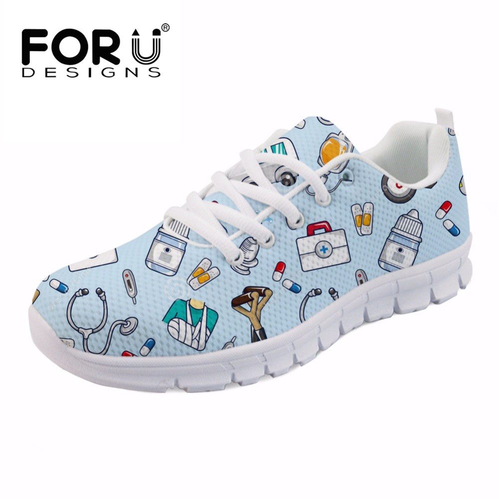 FORUDESIGNS Size 35-45 2018 New Women Flats Shoes Cartoon Nurse Print Woman Air Mesh Summer Harajuku Breathable Flat Footwear forudesigns women casual sneaker cartoon cute nurse printed flats fashion women s summer comfortable breathable girls flat shoes