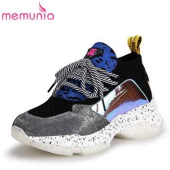 MEMUNIA BIG Size 42 Genuine leather women sneakers lace up mixed color flat shoes high quality platform casual shoes