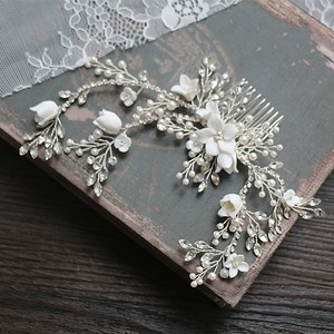 Image 2 - Flower Silver color Bridal Hair Comb Jewelry Wedding Party Headbands Bride Vintage Hairwear Jewelry Accessories