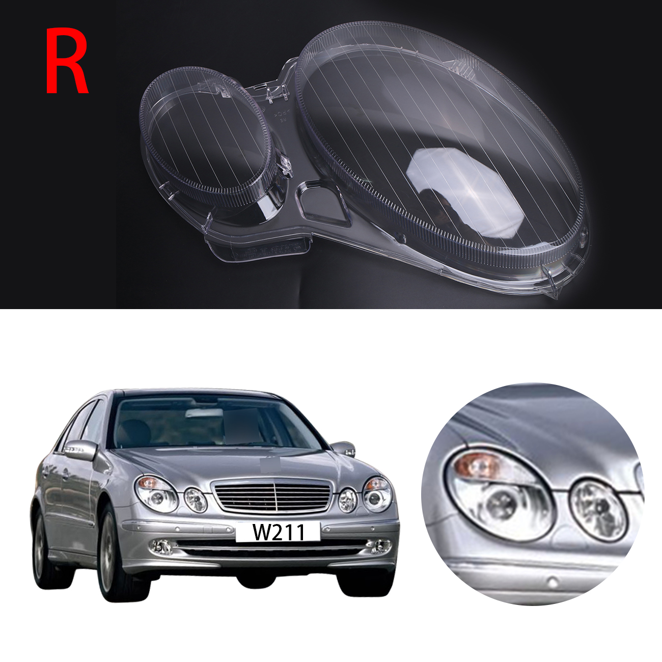Right Transparent Housing Headlight Lens Cover Lamp Assembly For Mercedes Benz E-CLASS W211 E320 E350 E300 2006 - 2008 #PD554-R