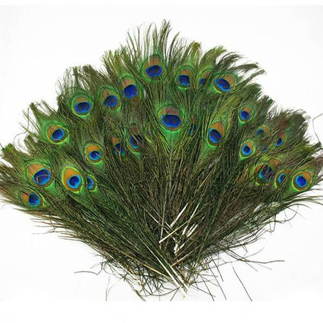Buy 20pcs natural peacock feather 23 30cm for Where can i buy peacock feathers craft store