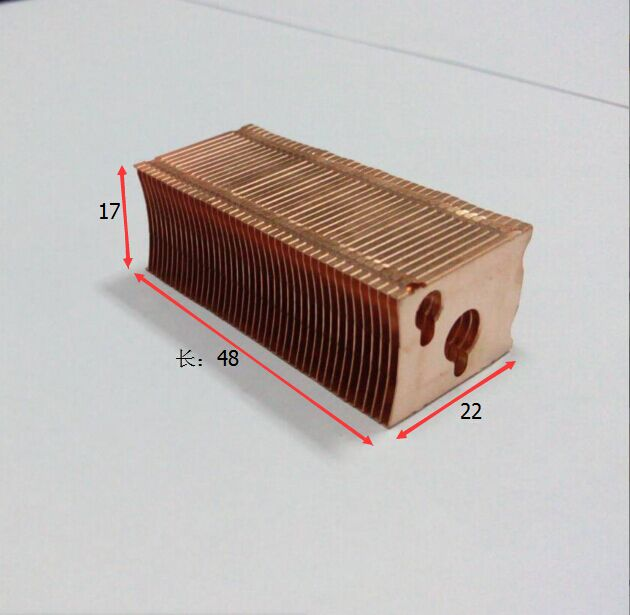 48*22*17mm Pure copper cooling fins Finned radiator length can DIY through heat pipe fins 5pcs lot pure copper broken groove memory mos radiator fin raspberry pi chip notebook radiator 14 14 4 0mm copper heatsink