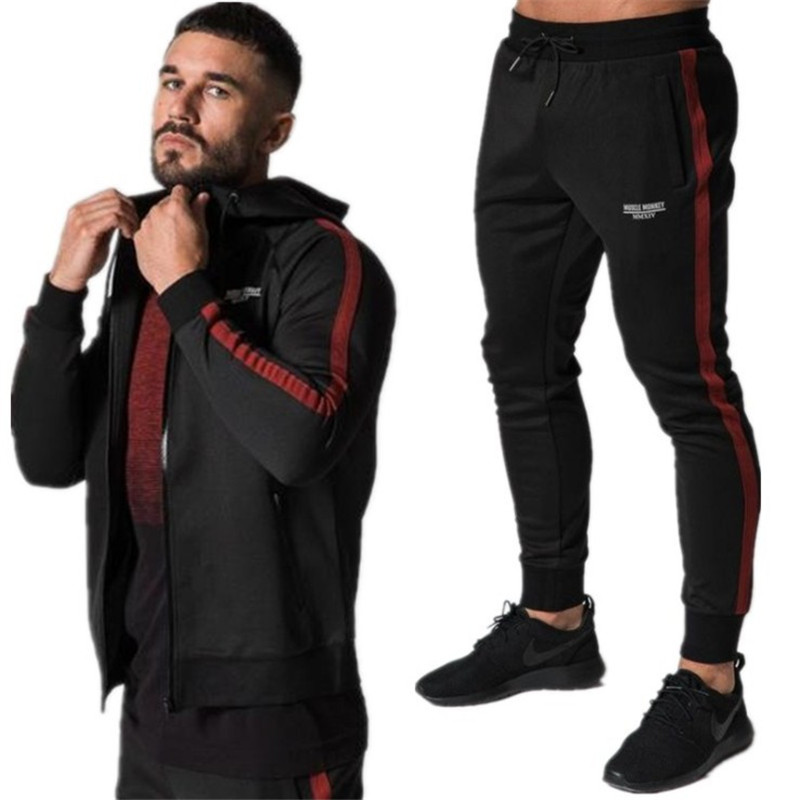 Yemeke Winter Sport Fits Males Hoodies Units M-2Xl Style Stitching Mens Fitness center Sportswear Operating Jogging Swimsuit Male Tracksuit