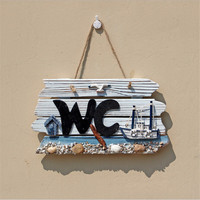 Toilet Sign Handmade Wooden House Toilet Bathroom WC Brand European Style Listed Bars Clubs Door Decoration