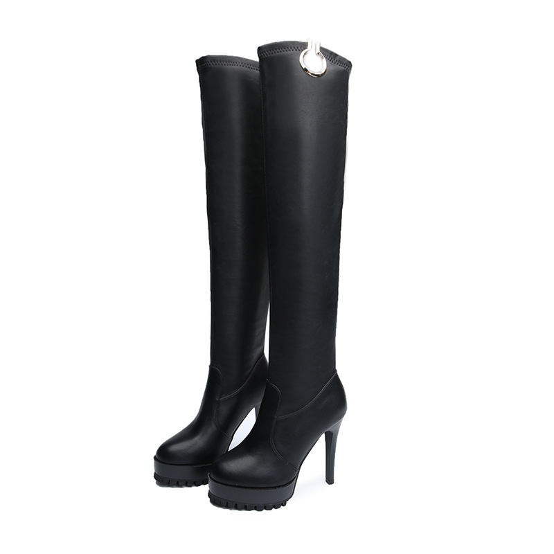11 Negro La Stovepipe Mujeres Tubo Super Alto Tacón Cm De Zapatos A Las Botas Rodilla Alta rq4ZrwfBx