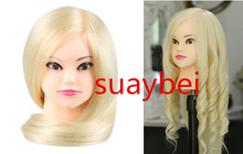 About 60cm 85% natural  hair mannequin head doll with practice styling dolls wig