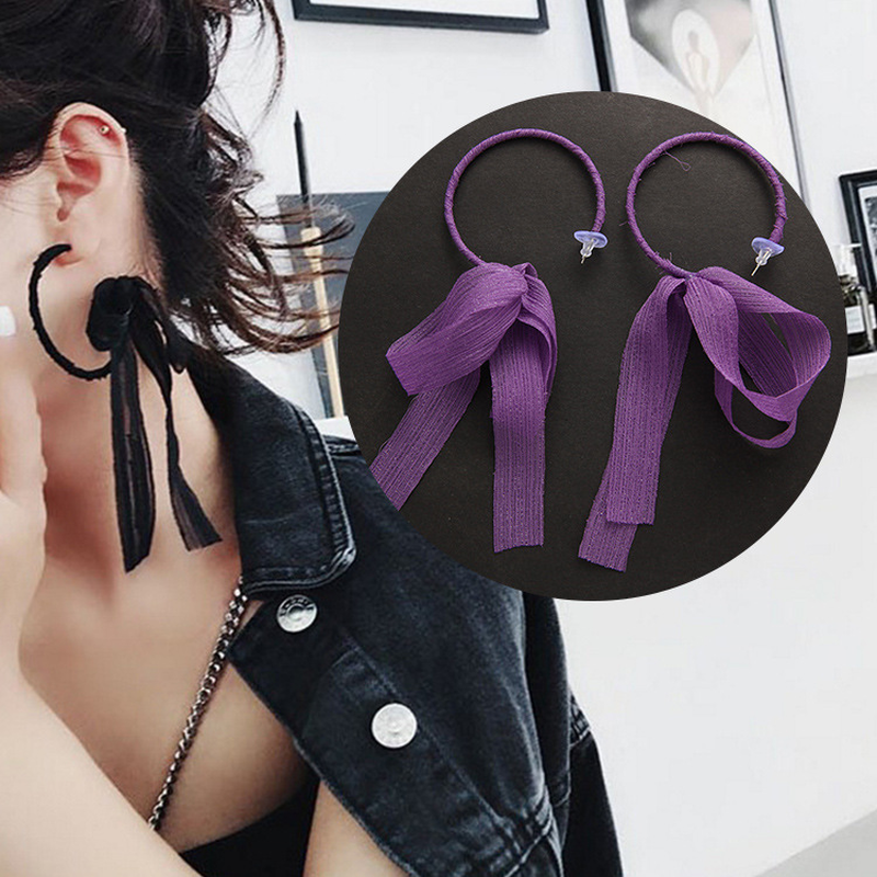 Mossovy Cute Bowknot Cloth Long Ribbon Stud Earrings Fashion Jewelry for Women Accessories Creative Boucle D'oreille Femme 2018