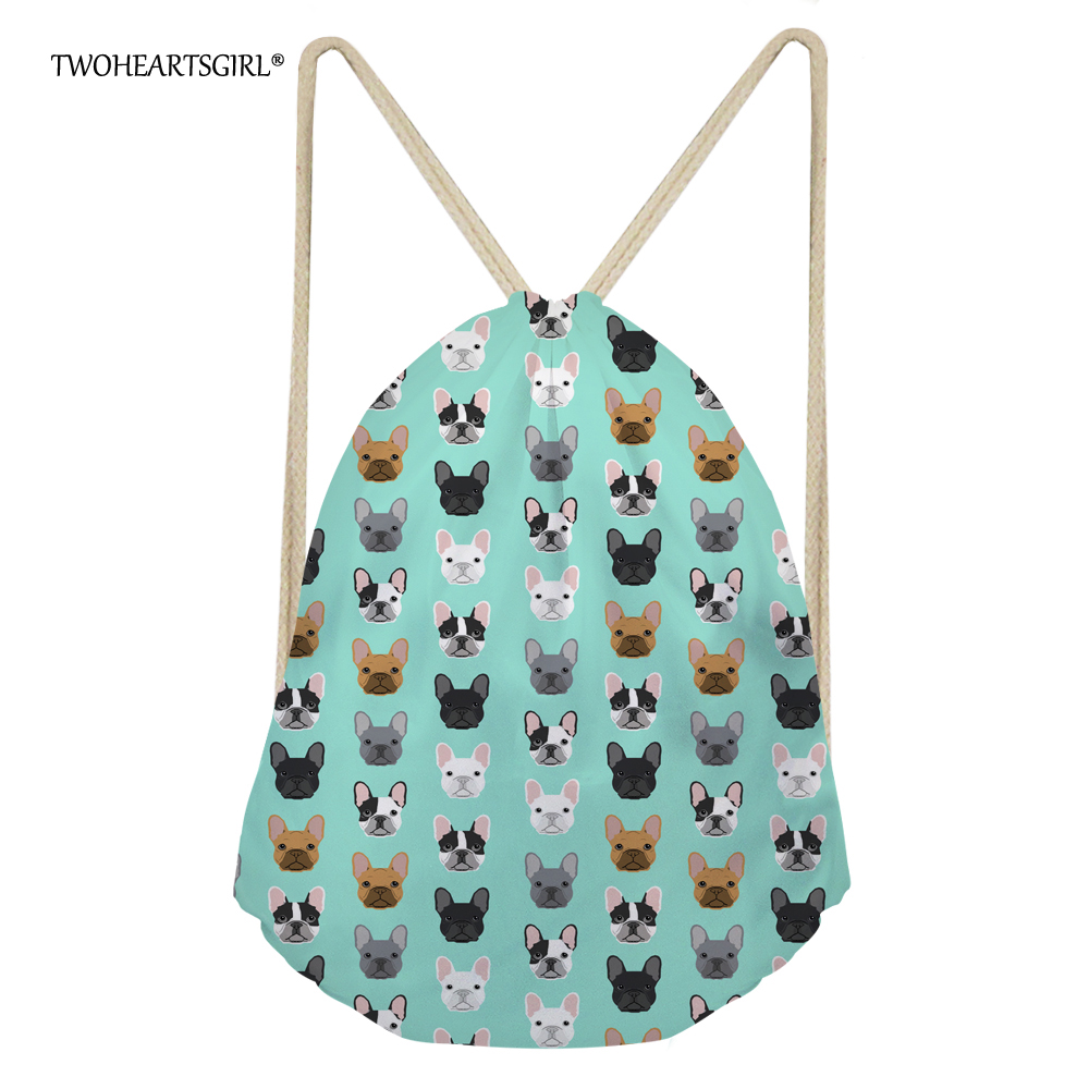 TWOHEARTSGIRL Mint Green French Bulldog Print Drawstring Bag For Travel Cute Women Kids School Backpack Portable Travel Daypack