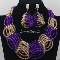 Purple and Gold Nigerian Beads Necklaces Jewelry Sets African Costume Jewelry Set Indian Wedding Jewelry Free Shipping AMJ657