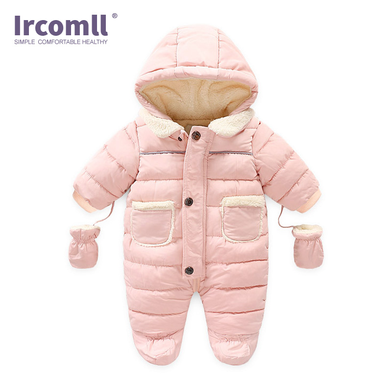 Ircomll Winter Infant Baby Girl Boy Romper Autumn Jumpsuit Hooded Inside Fleece Toddle Winter Autumn Overalls Children Outerwear