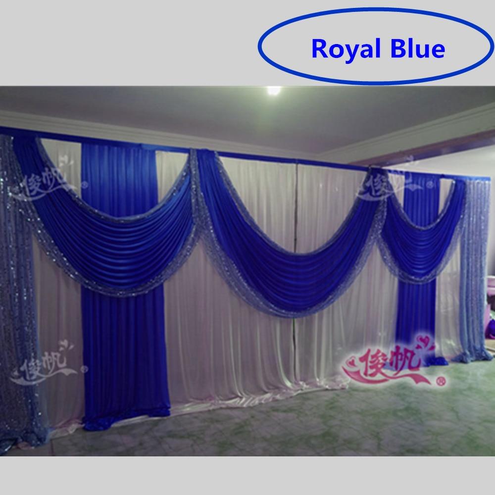 Beautiful Royal Blue Wedding Backdrop Sequins Swag Ice Silk Stage Background Curtain Wedding Decorations 3m 6m - Royal Wedding Backdrop