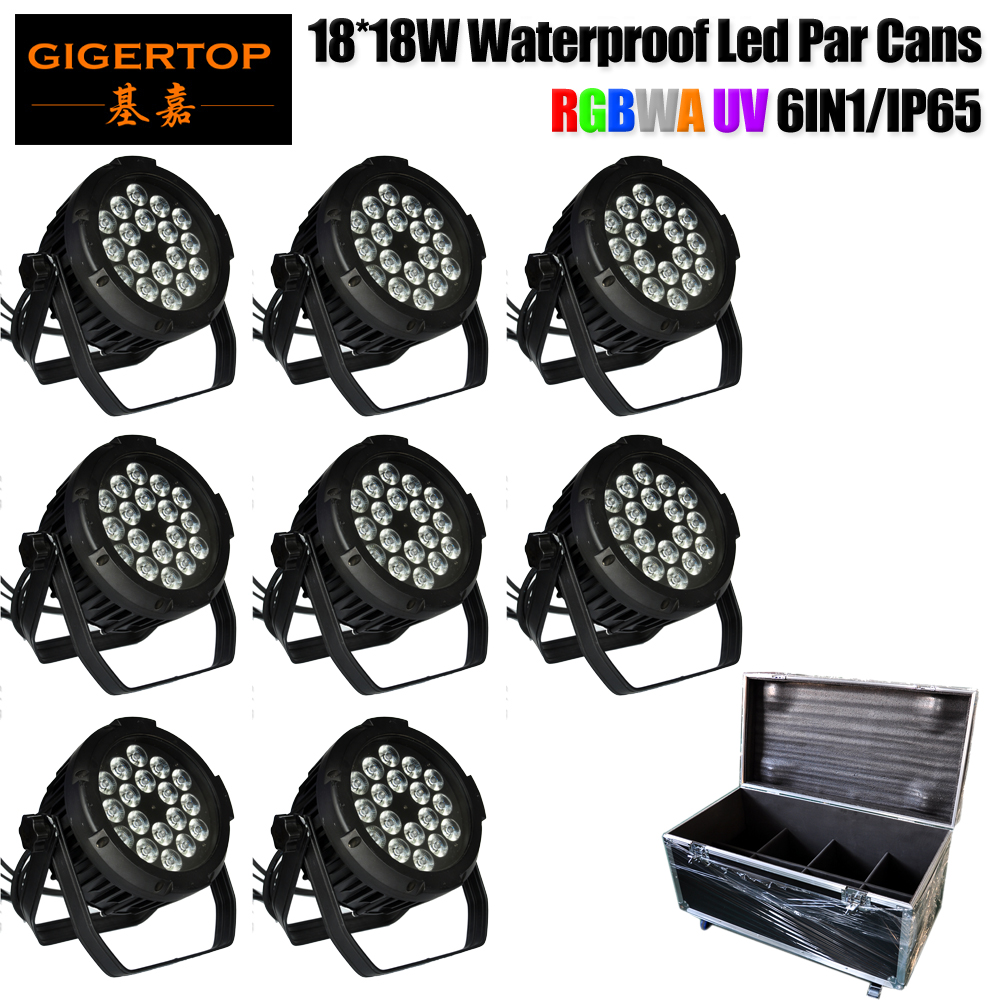 8IN1 Flight Case with Wheels 18 x 18W Professional Stage Lighting Die-cast Aluminum RGBWAP Waterproof Zoom LED Par Can Light ip67 die cast aluminum alloy module ac100v 110v 220v 200w led high mast tunnel stadium flood light fixture