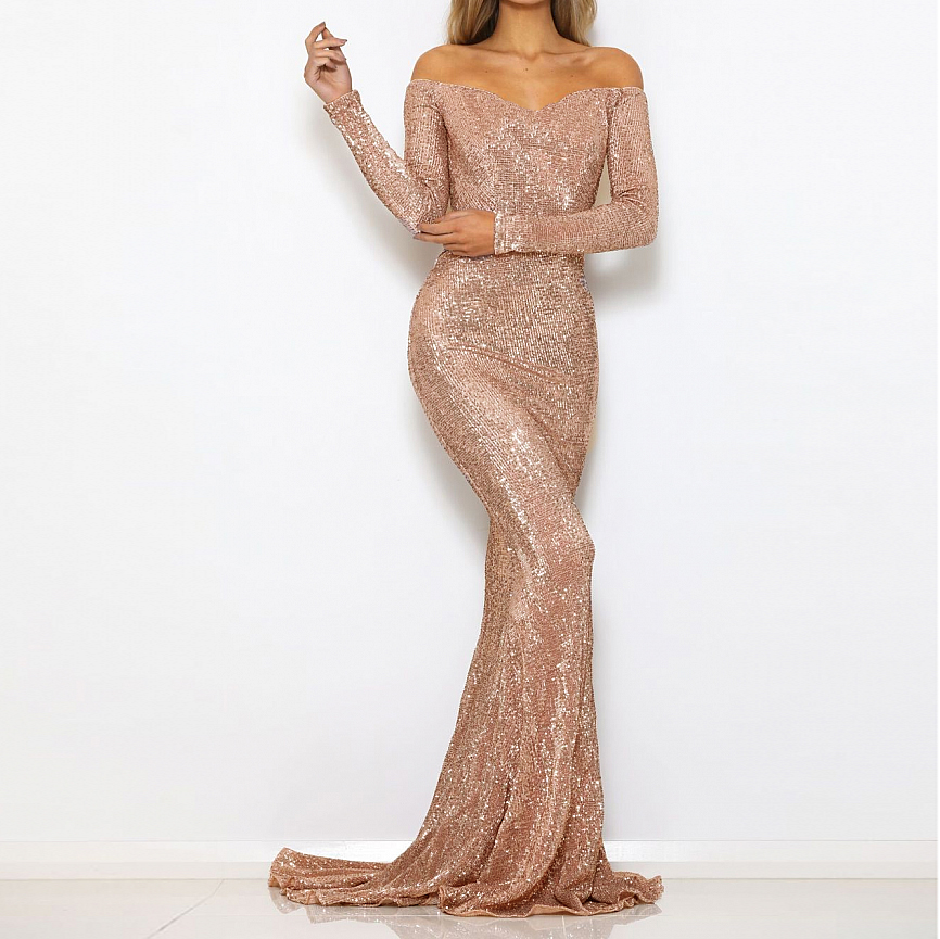 Off The Shoulder Champagne Gold Sequined Maxi Dress Stretchy Party Dress Floor Length Padded Dress Bodycon