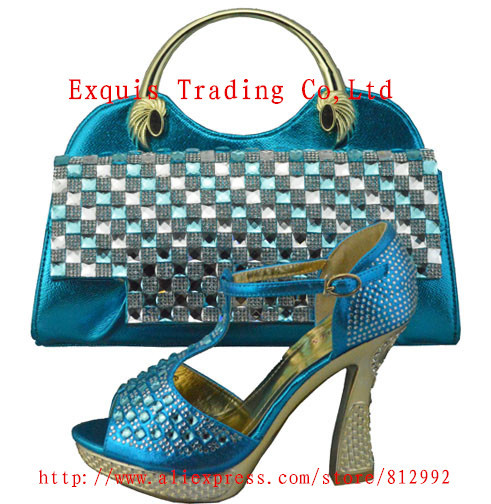 ФОТО New arrival italian shoes and bag set,high quality 10.5cm women wedges for bridal dress,free shipping,turkey blue,1308-35